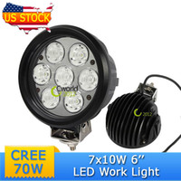 Cheap Round 6'' 70W CREE LED Work Light Car Auto Jeep Vehicle Military Truck Refit Offroad Running Fog Lamp Combo Beam Driving Light