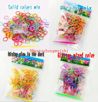 glow in the dark silicone bands - Rainbow loom bands DIY Silicone Bracelet Rainbow rubber band Glow in the dark Glitter Powder Dual segment color Kit Bag Sales