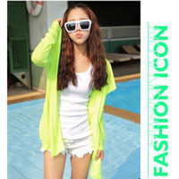 Cheap Summer tops for women 2014 chiffon hoodie transparent 5color lycras changeable beach UV protection full sleeve teesfree shipping