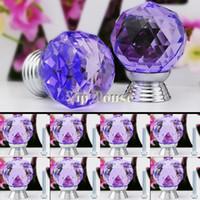 Cheap New 8 Pcs Glass Crystal Cabinet Drawer Knob Kitchen Pull Handle Door Wardrobe Hardware 30mm purple TK0737