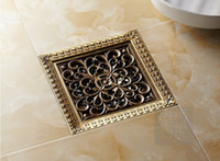 Wholesale 5400 quot European Antique Brass Square Art Carved Kithen amp Bathroom Floor Drains Shower Waste Drainer