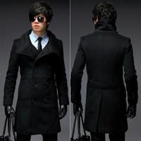 Wholesale Mens Jackets Winter Warm Pea Long Wool Trench Coats Fashion Turtleneck Single Platoon Windbreaker mjc468