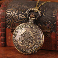 Cheap Wholesale free shipping 2014 hot sale bronze retro carved cross pirates anchor with long chain pendant fob watch necklace