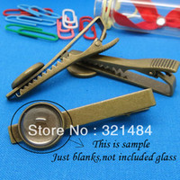 Wholesale piece Antique Bronze mm Collar Clips Men s Tie Clip Blank w mm Round Bezel Setting Cameo Base Findings