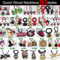 Wholesale 30pcs Mixed Good Wood Wooden Hip Hop Goodwood NYC Necklace styles To Choose