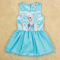 Wholesale Baby Clothes Frozen Queen Girls Children Kids Fancy Satin Dress Light Blue T Shirt Lace Dress monthes years old Baby Clothes