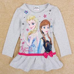 Wholesale Fashion Frozen Anna Elsa years old Girls Beige Color Long Sleeve Kids Skirt Short Dress