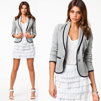 Wholesale New Autumn Fashion Women s Blazer Suit Coats Turn down Collar Outwear Tops Lady s Short Jacket Coat Grey