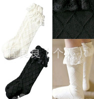 white tube socks - free shpping Pisces new Lace children Middle Tube Cotton socks Black white