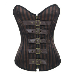 Steel Boned Corset Steampunk Corset Gothic Corsets Brown Vintage Stripe Bustier for Waist Training Body Shapers