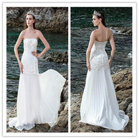 Cheap 2014 Summer Sheath Column Wedding Gown Strapless Sleeveless Court Train Zipper Draping Lace Chiffon And Stretch Satin Beach Wedding Dress