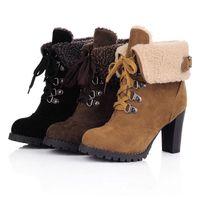 Wholesale 2014 Fashion Women Ankle Boots High Heels Lace up Snow Boots Platform Pumps Plus velvet keep warm women boots