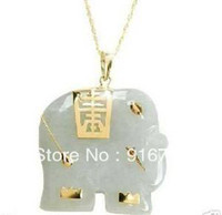Cheap free shipping *******Asian NATURAL White Jade Elephant Pendant Necklace