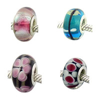 Flowers lampwork beads - 300pcs Mixed Colors New silver Murano lampwork beads marked fit Bracelets