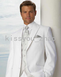 Wholesale Custom Made Two Buttons White Groom Tuxedos Peak Lapel Best Man Groomsmen Men Wedding Suits Bridegroom Jacket Pants Vest Tie ok