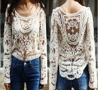 Wholesale 2014 Fashion New Women s Semi Sheer Sleeve Hollow Top Sexy Lace Floral Crochet Blouse Embroidery Shirt For Lady Size S M L XL