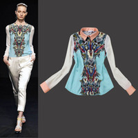 Regular Polyester Beading Spring and Autumn European Chiffon Shirts Women's Clothing New Style Floral Printed Long Sleeve Blouses High Quality
