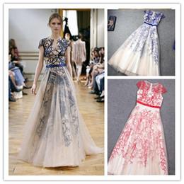Wholesale 2014 New Style Embroidery Evening Dresses High Neck Sash Tulle Short Sleeve A Line Floor Length Formal Vestido De Festa