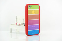 Wholesale couple phone shell for iphone4s phone shell s rainbow silicone protective coat