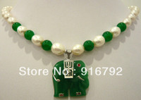 Cheap free shipping *******White pearl & green jade necklace+elephant pendant