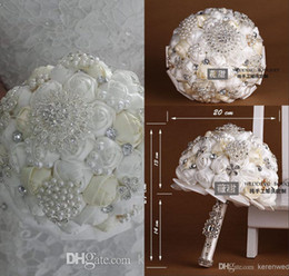 Wholesale 2014 Fashion Wedding Bride Holding Flowers with Hand Made Satin Rose Pearls Crystals Bridal Bouquet Wedding Favors High Quality Hot Sale