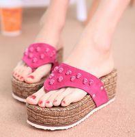 Wholesale Summer New Straw mat Wedges Sandals Metal Skull Thick bottom Fashion Casual Flip Flops Women
