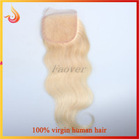Cheap Lace Top Closure 4''x4'' Bleached Knots Brazilian Virgin Hair Weave Free Parted Lace Closure color 613# body wave 100% human hair extension