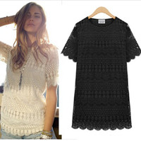 Cheap 5XL 2014 Summer New Sexy Full Lace Blouse Plus Size XXXXXL Top Shirt Black Loose Blouse Lace Shirt Short Sleeve Off White