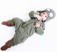 baby romper body - New Auttumn Winter Baby Boys Girls Bodysuits Clothing Lovely Pilot Body Suit Romper With Hat Set Suits Baby Cotton Rompers Hot Sale J0844