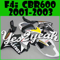 Wholesale Yes2yeah Aftermarket Injection Mold Fairing For Honda CBR600F4i CBR F4i Play White Black H61Y26 Free Gifts