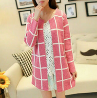 Women's spring coats - 2014 new women s spring and autumn Color matching grid cardigan Sweater coat