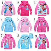 Girl Spring / Autumn Standard 2014 Frozen Baby Girls 2-8Yrs Elsa Anna Princess Hoodie Long Sleeve Terry Hooded Jumper Cartoon Hoodies Outerwear Kids Clothing 6 pcs