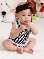 Wholesale 2014 New Born Baby Boys Girls Bodysuits Infants Clothing Clothes Zebra Sleevelss Vest Baby One Piece Romper Kids Rompers J0846