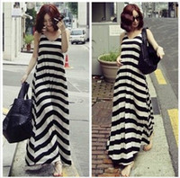 Wholesale Fashion Women Long Maxi Dresses Loose Ladies Skirt Bohemian New Summer Dress Black and White Stripe Sexy Dress Girls Casual Party Dress YQ37