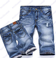 Wholesale Hot jeans shorts boys men fashion leisure mens short jean summer casual pants blue high quality