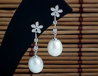 Wholesale 9 mm Freshwater Pearl Dangle Jewelry Earrings Guaranteed Solid Sterling Silver Earrings With Zircons YH47976