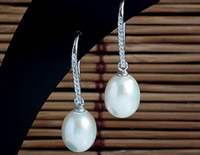 Wholesale 9 mm Freshwater Pearl Dangle Jewelry Earrings Guaranteed Genuine Sterling Silver Earrings With Zircons YH47980