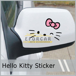 Kawaii Car Truck Rearview Mirror Styling Hello Kitty Stickers And Decals 3D Carbon Fiber Vinyl Cute Cartoon Sticker Car Accessories