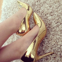 Cheap Gold Fashion Chap Pointy shoes shallow mouth with super high heels woman shoes Cheap In Stock 2014