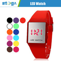 Wholesale Unisex Square Mirror Face Red LED Digital Rubber Band Wrist Watch Assorted Colors