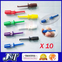 Wholesale F01893 Sets colors mini SMD IC Single Hook Clip Grabbers Test Probe cable for multimeter wire lead