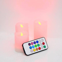 Wholesale 50sets Wax Battery electronic or8 hour Remote Control Color changing led light candle