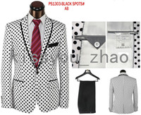 Wholesale 2014 newest designer brand white black Polka Dot Bridegroom Wedding dress suits men party suits size S XL in stock