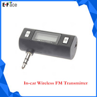 Wholesale Q0226 Portable In car Wireless FM Transmitter with mm Audio Male Connector to USB Cable for iPhone Android Phone