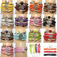 Link, Chain Gift Leather, wax rope, alloy Infinity Bracelets trees and bird life multilayer woven multi-strand pearl bracelet multi infinity symbol manual preparation Best Gift