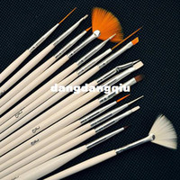 Wholesale set White Wooden Professional Acrylic Nail Art Brush Set Design Painting Pen Perfect Tools For Natural Nail