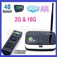 Wholesale CS918S Quad Core Allwinner A31 G RAM G Android TV Box Built in MP Camera Bluetooth RJ45 XBMC kODI
