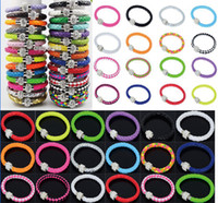 Wholesale Magnetic Wrap Wristband Cuff Punk Shamballa Clasp Magnetic PU Leather Rhinestone Buckle Bracelet JB03111