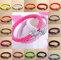 Wholesale Leather Wrap Magnetic Rhinestone Buckle Bracelet Bangle Pick Mix Colorful braide JB03111