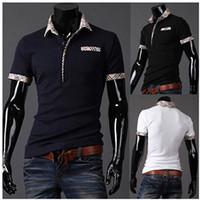 men's polo shirts - 2014 fashion men polos shirts lattice led Men s slim fit leisure lapel t shirts t shirts with short sleeves